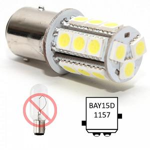 BAY15D LED lamp, 2 ongelijke pinnetjes buitenzijde lampfitting, dual dubbele contact