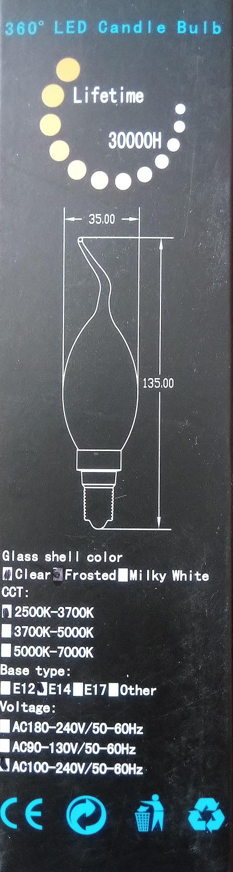 E14 LED Tipkaars, 3Watt LED Dimmen wit glas, 2500kelvin 2700kelvin warm licht