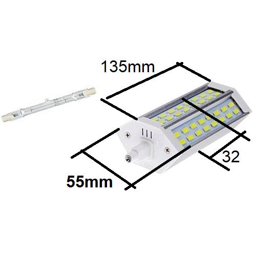 J135mm halogeen buislamp vervangen door R7S135mm led lamp, hoogt 32mm, breedte 55mm, lengte 135mm