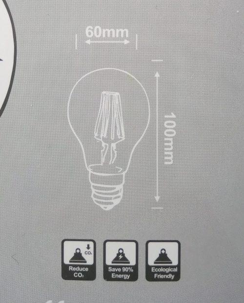 ODF LED E27 G60 Filament LED lamp Dimmen 6 watt clear 2700Kelvin warm licht