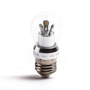 ODF LED lamp, E27 D40 3Watt, Dimmen, clear glass 2000 kelvin-2500kelvin warm licht
