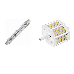 R7s halogeen lamp 78mm vervangen door R7S LED lamp 78mm