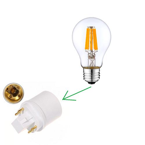 E27 LED Lamp in GX24 lampadapter plaatsen monteren odf led light